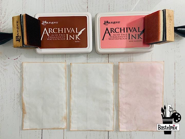 Pergamintüten einfärben mit Archival Ink Rose Madder und Sepia.
