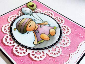 Babykarte Mädchen in rosa selber basteln
