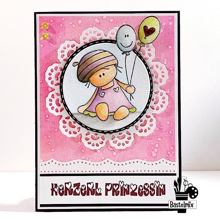 Rosa Babykarte für ein Mädchen mit Stempelmotiv