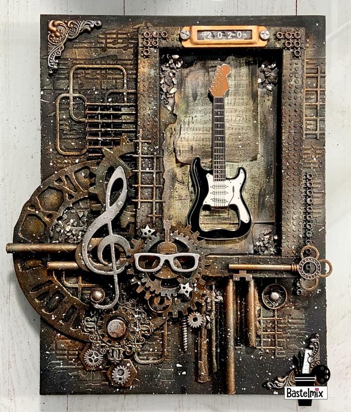 Geschenk für einen Musiker: Malplatte mit Gitarre im Mixed Media Stil