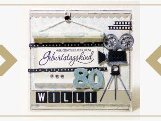 Geburtstagskarte für einen Mann zum 80. Geburtstag. Thema Film.