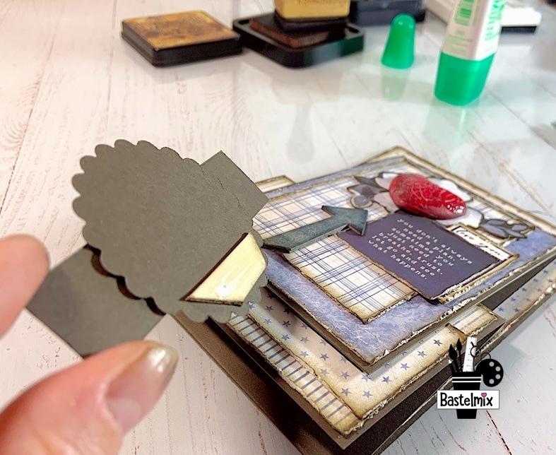 Spruch auf eine gebastelte Karte kleben mit 3-D Pad