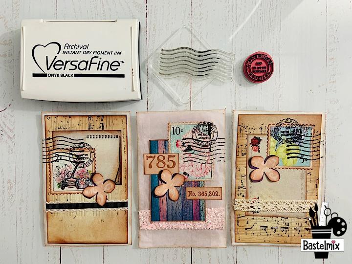 Faux Briefmarken abstempeln mit Versafine Onyx Black.