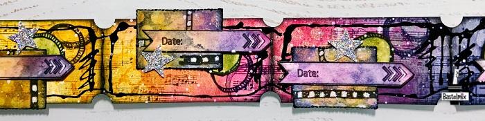 Ticketstreifen bunt gestaltet mit Distress Ink.