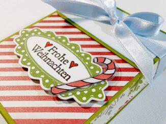Verpackung in Buchform mit Schleife zu Weihnachten basteln.